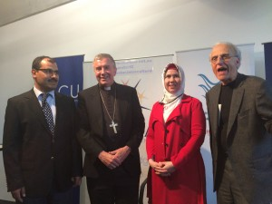 Fettulah Erdogan (director of Blustar Islamic Intercultural Centre), Archbishop Christopher, Zuleyha Kiskin and Professor John Esposito.