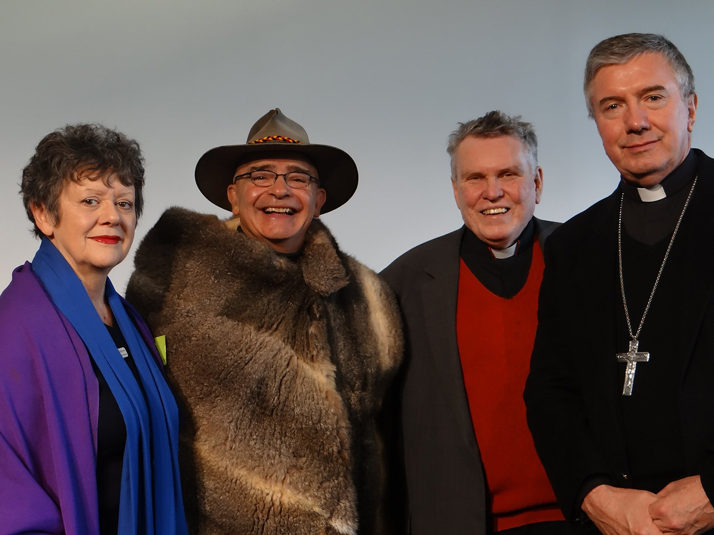 Archbishop Christopher Prowse with (from left) Vanessa Crimmins, chair of the Presbytery of the Uniting Church, Shane Mortimer from the Ngambri nation and Dean Phillip Saunders, Dean of the Anglican Cathedral, St Saviours, Goulburn