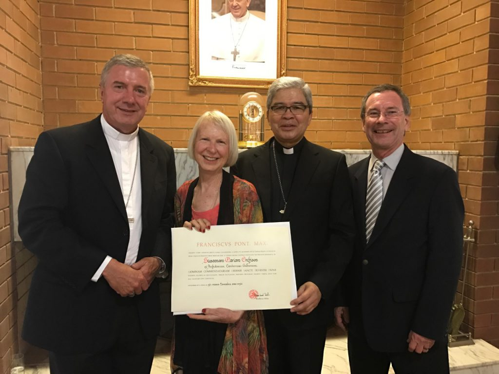 Mrs Sue Orchison awarded a Papal Honour, Dame of the Order of Pope St Sylvester